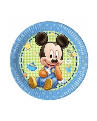 Tanieriky Mickey Mouse- Baby  23 cm - 8 ks