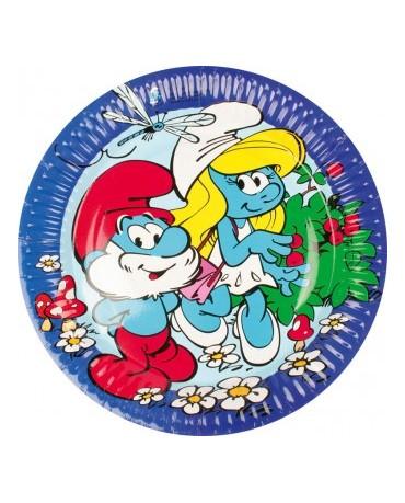 Tanieriky Šmolkovia- modré 23cm - 8ks