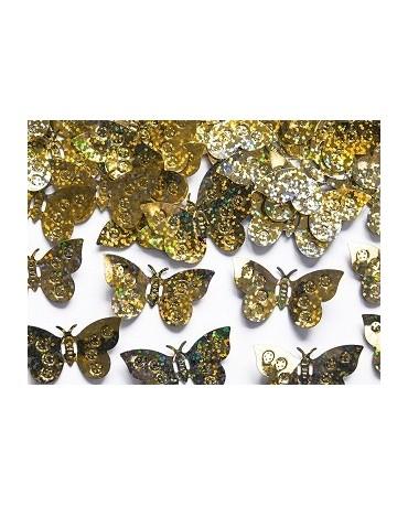 Konfety holog. motýle - zlaté 15g