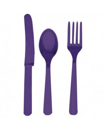 Plas. príbory -fialové 24ks
