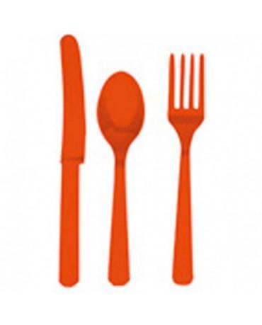 Plas. príbory -oranžové 24ks