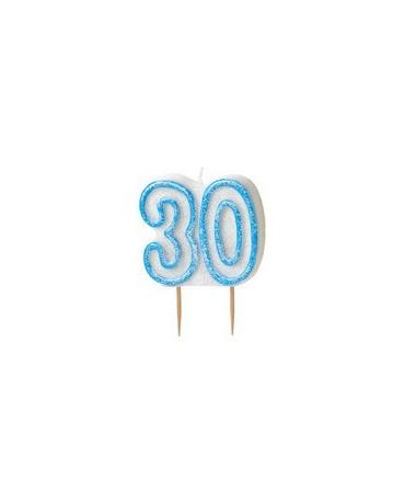 Sviečka č.30 -modrý okraj