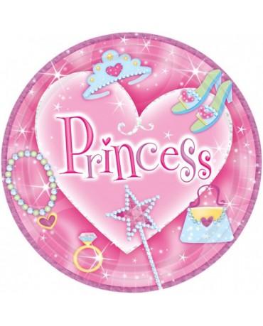 Tanieriky Princess- ruž. 23cm - 8 ks