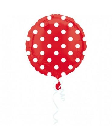 Fól. balón - červený- biel. bodky 43cm