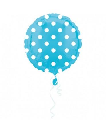 Fól. balón - modrý- biel. bodky 43cm