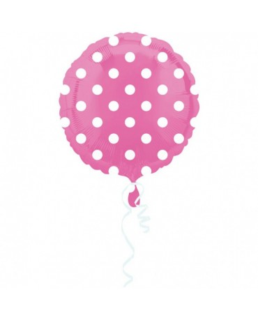 Fól. balón - ružový- biel. bodky 43cm
