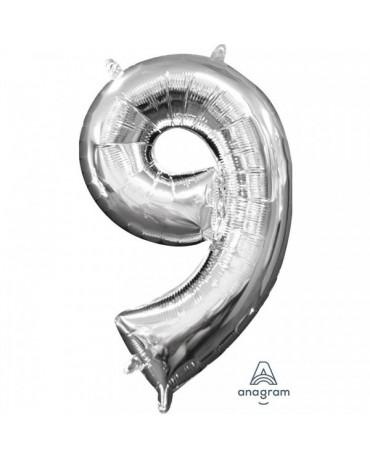 Fól. balón č. - 9 strieb. 20x35cm
