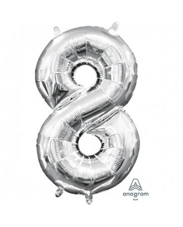 Fól. balón č. - 8 strieb. 20x35cm