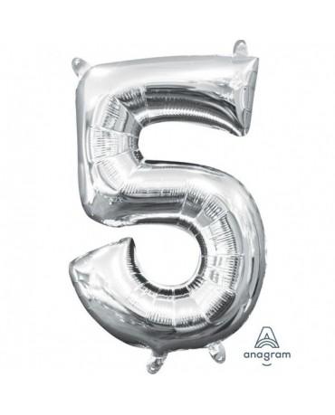 Fól. balón č. - 5 strieb. 22x33cm