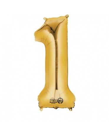 Fól. balón č. - 1 zlatý  33x86cm