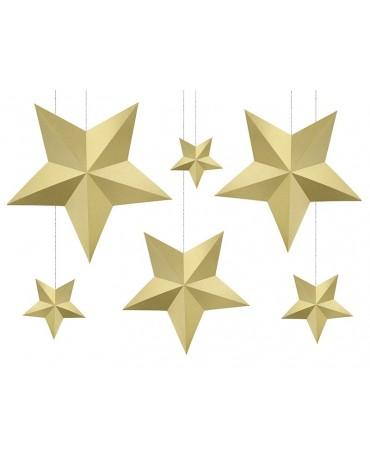 Dekor. hviezdy -zlaté 6ks