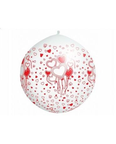 Latexový balón biely - červené srdcia 100cm