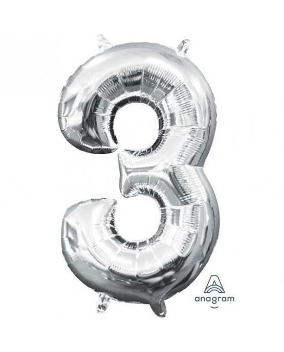 Fól. balón č. - 3 strieb. 20x33cm