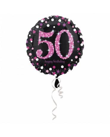 Fól. balón č. 50 - ružový 43cm