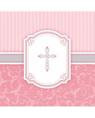 Servítky krst - ružové 33x33cm 16ks