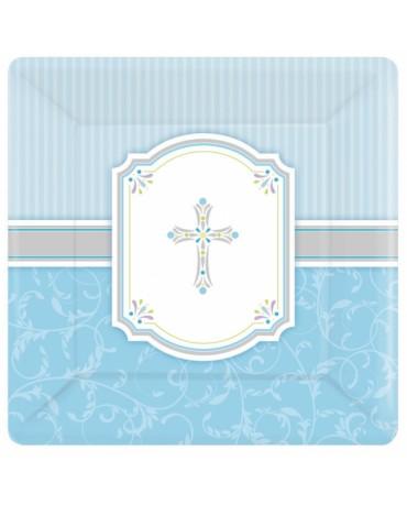 Tanieriky krst - modré 25,4cm 8ks