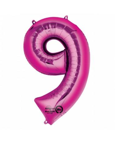 Fóliový balón číslo 9- ružový 63x86cm