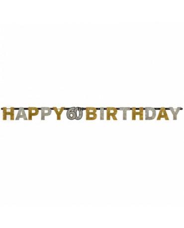 Banner Happy Birthday 60- strieborno-zlatý