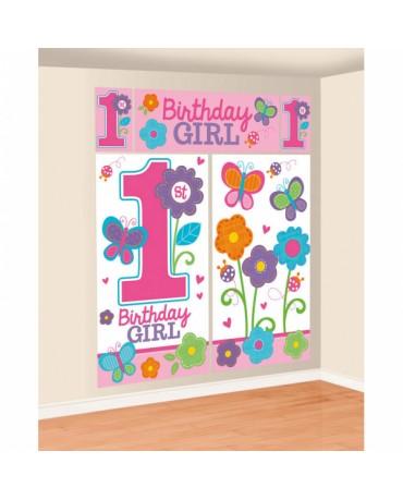 Dekorácia na stenu 1st Birthday girl 5ks