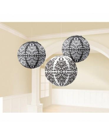 Dekorácia- lampión- vzor damašk 24,1cm 3ks