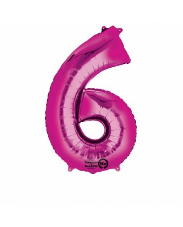 Fóliový balón číslo 6 -ružový 55x88cm
