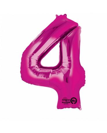 Fóliový balón číslo 4- ružový 88x66cm