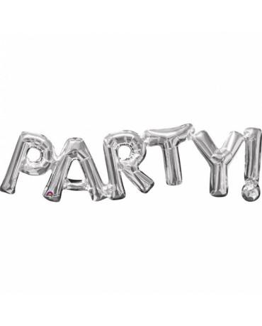 Fóliový balón PARTY - strieborný 83x22cm
