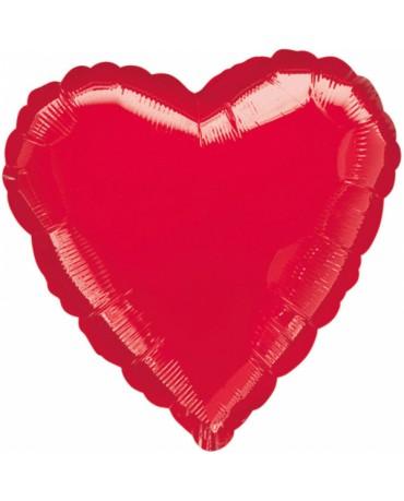 Fóliový balón srdce- červené 43cm