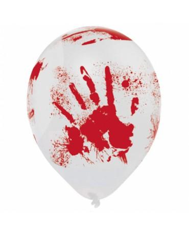 Latexové balóny krvavé ruky 25,4cm 6ks