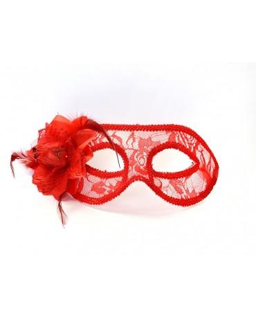 Benátska maska -červená čipka s ružou