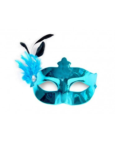 Benátska maska -tyrkysová s pierkom
