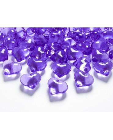 Dekorácia srdce -fialové 2,1cm 30ks