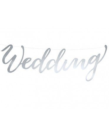 Banner Wedding- strieborný 45cm
