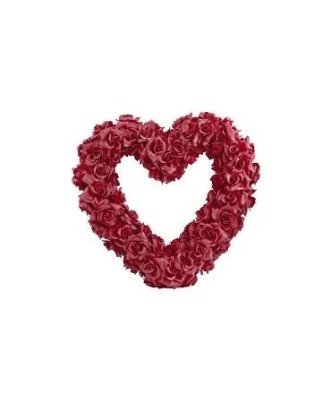 Dekorácia-bordové srdce z ruží
