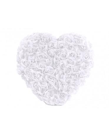 Dekorácia- biele srdce z ruží - plné