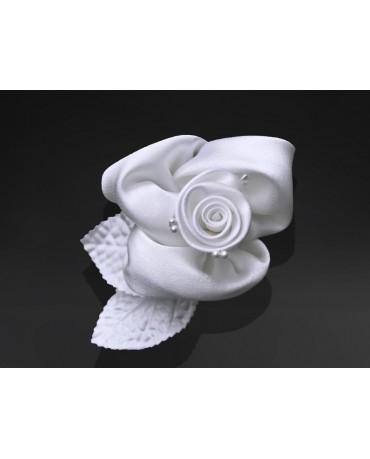 Ozdoba na auto -ruža - biela 10ks