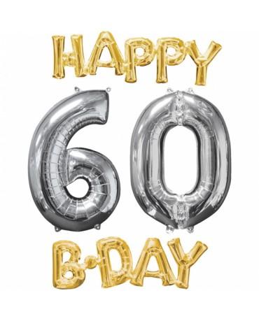 Fóliový balón Gappy Bday 60 zlato strieborný