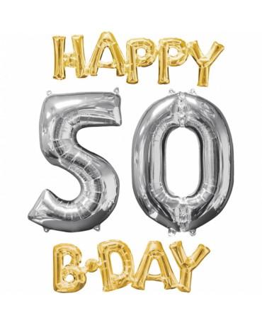 Fóliový balón Happy Bday 50 zlato strieborný