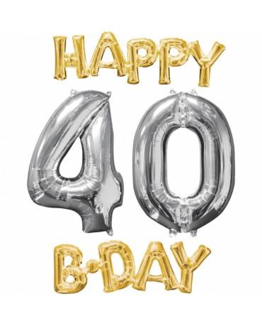 Fóliový balón Happy Bday 40 zlato strieborný