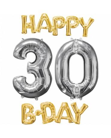 Fóliový balón Happy Bday 30 zlato-strieborný