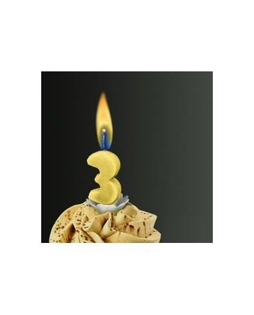 Sviečka - číslo 3 -žltý plameň