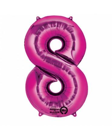 Foliový balón číslo 8 - ružový 53x83cm