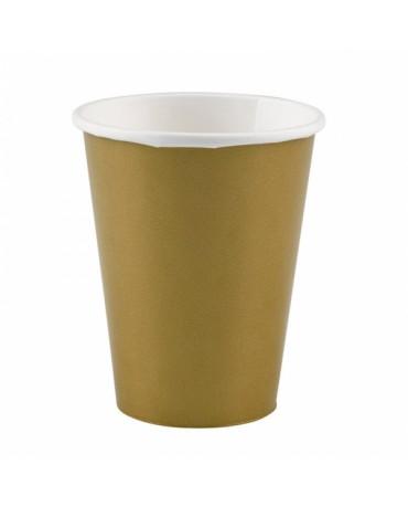 Papierové poháriky zlaté 266ml 8ks