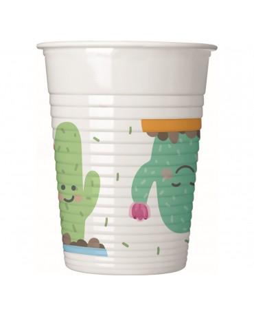 Poháriky plastové kaktus 200ml 8ks