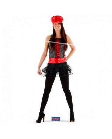 Čierno červený kostým s čiapkou S/M