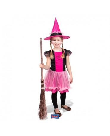 Kostým čarodejnica s ružovým klobúkom M