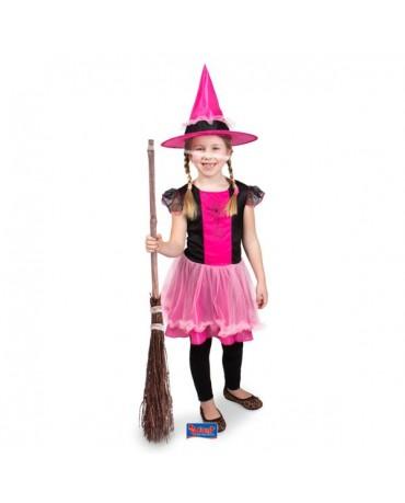 Kostým čarodejnica s ružovým klobúkom S