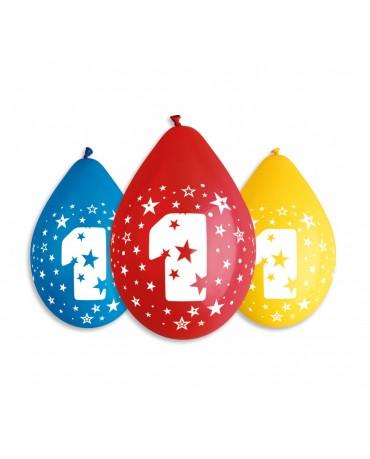 Pastelové balóny číslo 1 visiace 12'' mix 10ks