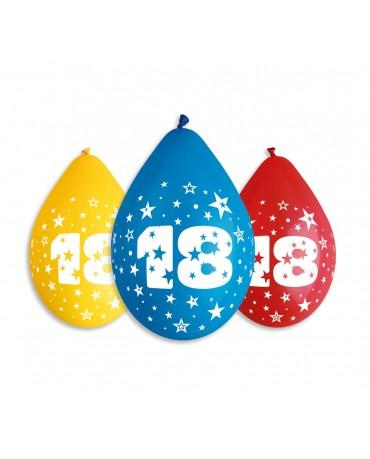 Pastelové balóny číslo 18 visiace 12'' mix 10ks