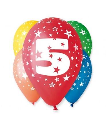 Latexové balóny číslo 5-hviezdy 30cm 10ks